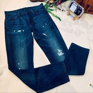 LEVI 511 | 33 x 34 | Dark Wash Deconstructed Jeans